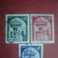 Sellos: MARRUECOS FRANCÉS 1951. MEZQUITA KARAOUINE. YVERT 307, 308A Y 309. USADOS. . Lote 128750755