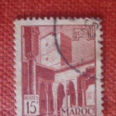 Sellos: MARRUECOS FRANCÉS 1951. PATIO DE LOS UDAYAS EN RABAT. YVERT 310. USADO. . Lote 128784847