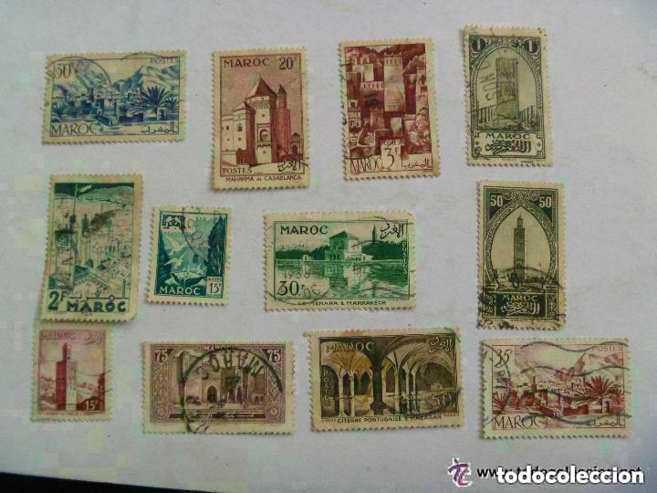 LOTE DE 12 SELLOS DE MARRUECOS . ANTIGUOS. (Sellos - Extranjero - África - Marruecos)