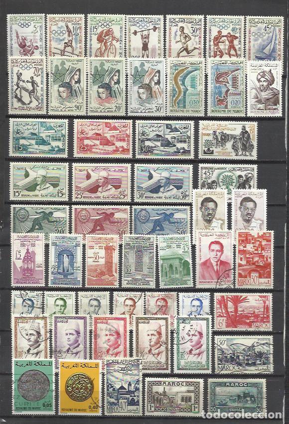 G522C-LOTE SELLOS MARRUECOS AÑOS 50/60S NUEVO,USADO,SIN TASAR,SERIES COMPLETAS,**,*,(.). NO HAY SELL (Sellos - Extranjero - África - Marruecos)