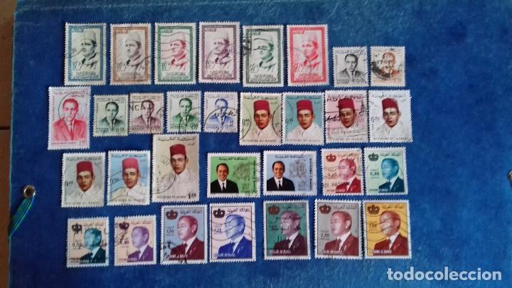 MARRUECOS. LOTE DE 31 SELLOS DIFERENTES DE HASSAN II Y MOHAMMED V. USADOS. (Sellos - Extranjero - África - Marruecos)