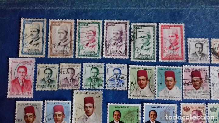 Sellos: Marruecos. Lote de 31 sellos diferentes de Hassan II y Mohammed V. Usados. - Foto 3 - 142418658
