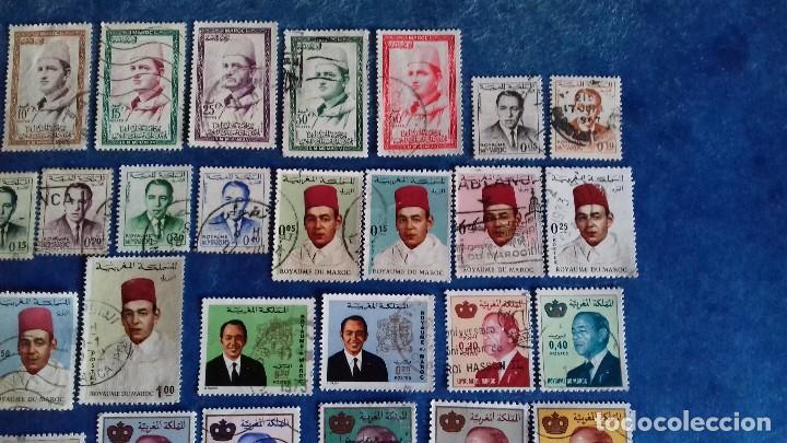 Sellos: Marruecos. Lote de 31 sellos diferentes de Hassan II y Mohammed V. Usados. - Foto 4 - 142418658