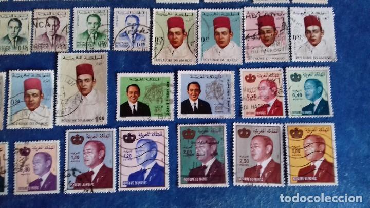 Sellos: Marruecos. Lote de 31 sellos diferentes de Hassan II y Mohammed V. Usados. - Foto 5 - 142418658
