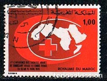 MARRUECOS IVERT 810, CONFERENCIA DE LAS SOCIEDADES ARABES DE CRUZ ROJA, USADO (Sellos - Extranjero - África - Marruecos)