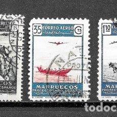 Sellos: MARRUECOS,CORREO AÉREO,PAISAJES,YVERT 51, 82 Y 84,USADOS. Lote 181443323