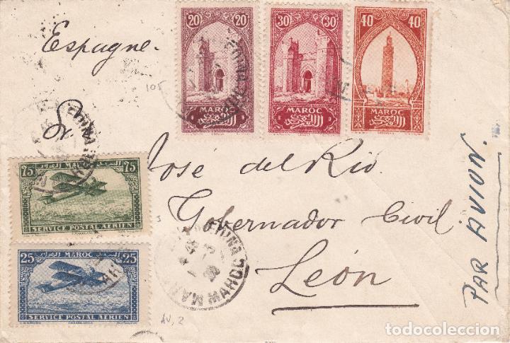 CARTA DE MARRAKECH A LEÓN CON SELLOS DE MARRUECOS FRANCÉS VER DESCRIPCION (Sellos - Extranjero - África - Marruecos)