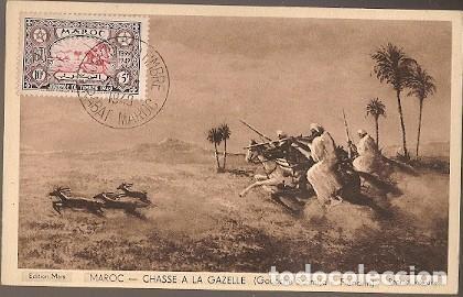 MARRUECOS & MARCOFILIA, CAZANDO GACELA, GOUACHE SCHMIDT, FLANDRIN, RABAT A ALGER 1949 (8754) (Sellos - Extranjero - África - Marruecos)