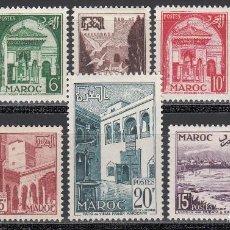 Sellos: MARRUECOS,1951-54 YVERT Nº 306 / 313, 308A /*/. Lote 195096872