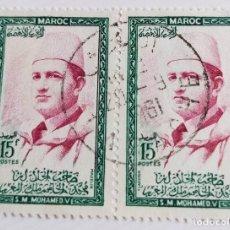 Sellos: 2 SELLOS DE MARRUECOS 1956 KING MOHAMMED V 15F. Lote 202608002