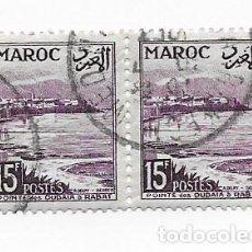 Sellos: 2 SELLOS USADOS MARRUECOS MAROC,15F, AÑO 1954.. Lote 217421260