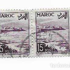Sellos: 2 SELLOS USADOS MARRUECOS MAROC,15F, AÑO 1954.. Lote 217421290