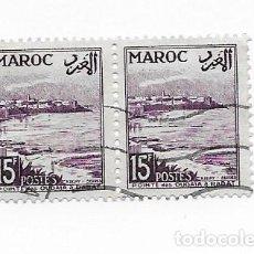 Sellos: 2 SELLOS USADOS MARRUECOS MAROC,15F, AÑO 1954.. Lote 217421360