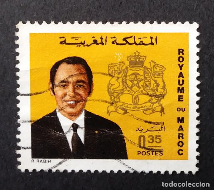 1973-1976 MARRUECOS ESCUDO DE ARMAS Y REY HASSAN II (Sellos - Extranjero - África - Marruecos)