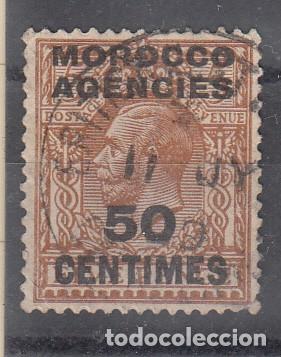 MARRUECOS INGLÉS. YVERT 17 USADO. SELLO DE GRAN BRETAÑA S/CARGA 'MOROCCO AGENCIES'. 50 CÉNTIMOS. (Sellos - Extranjero - África - Marruecos)