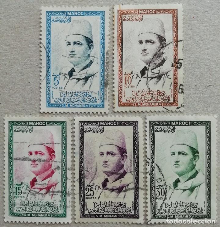 1956. MARRUECOS-ZONA SUR. 362 / 368. RETRATO DEL SOBERANO MOHAMED V. USADO. (Sellos - Extranjero - África - Marruecos)