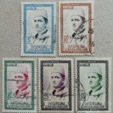 Timbres: 1956. MARRUECOS-ZONA SUR. 362 / 368. RETRATO DEL SOBERANO MOHAMED V. USADO.. Lote 243344120