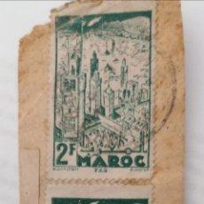 Sellos: MARRUECOS. 3 SELLOS 2 FRANCS. PEGADOS A TROZO DE CARTA. MATASELLOS. Lote 252529165