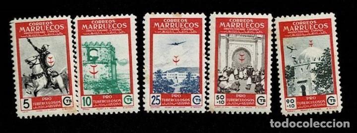 Sellos: F5-5 MARRUECOS Edifil nº325-329 Serie completa sin fijasellos VER. - Foto 2 - 255448105