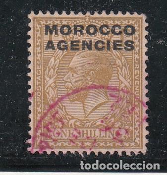 MARRUECOS IV TODOS LOS DESPACHOS 22 MATASELLO ROJO USADA, (Sellos - Extranjero - África - Marruecos)