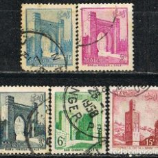 Sellos: MARRUECOS (COLONIA FRANCESA IVERT Nº 346/50), MONUMENTO MARROQUIES. USADO. Lote 260870520