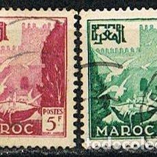 Sellos: MARRUECOS (COLONIA FRANCESA) IVERT Nº 331/2, TURISMO: PALOMAS Y PUNTA OUDAYAS. USADO, SERIE COMPLETA. Lote 260871165
