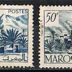 Sellos: MARRUECOS (COLONIA FRANCESA) IVERT Nº 293 Y 305, AÑO 1950-1, VALLE DE TODRA, USADO. Lote 260871770