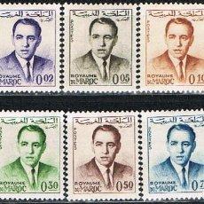 Sellos: MARRUECOS IVERT Nº 435, SERIE BÁSICA: EL REY HASSAN II, NUEVO *** (10 VALORES). Lote 262244600
