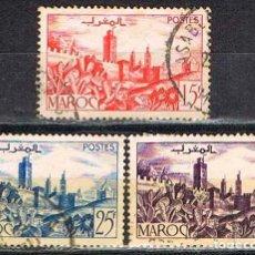 Sellos: MARRUECOS COLONIA FRANCESA IVERT Nº 262 A - 265 Y 266 (AÑO 1949), MURALLAS, USADO. Lote 262293850