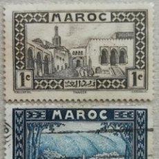 Sellos: 1933. MARRUECOS. 128, 135. ANTIGUO PALACIO DEL SULTÁN EN TÁNGER, VISTA DE MOULAY IDRISS. USADO.. Lote 262565075