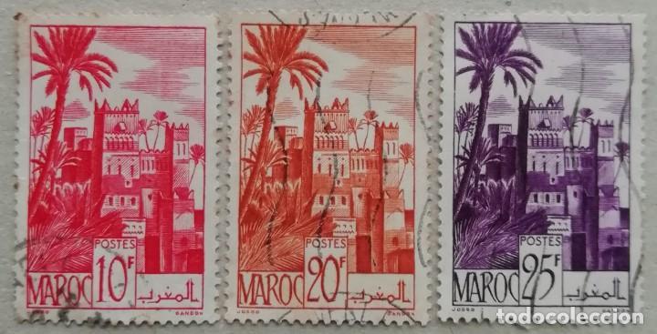 1947. MARRUECOS FRANCÉS. 260-A, 264, 265. KASBAH DE LA CIUDAD DE OUARZAZAT. USADO. (Sellos - Extranjero - África - Marruecos)
