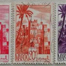 Sellos: 1947. MARRUECOS FRANCÉS. 260-A, 264, 265. KASBAH DE LA CIUDAD DE OUARZAZAT. USADO.. Lote 288148663