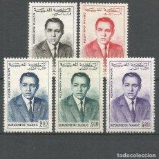 Sellos: MARRUECOS CORREO AEREO YVERT NUM. 106/110 SERIE COMPLETA NUEVA SIN GOMA. Lote 295779983