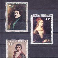 Sellos: NIGER A 68/70 SIN CHARNELA, PINTURA, AUTORRETRATO DE DURERO, DAVID, DELACROIX . Lote 24573443