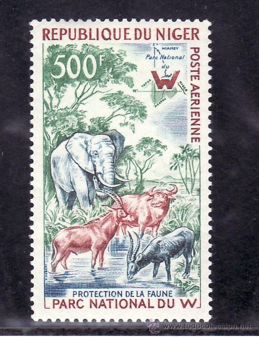 NIGER A 18 CON CHARNELA, PROTECCION DE LA FAUNA, EN EL PARQUE NACIONAL DE W (Sellos - Extranjero - África - Niger)