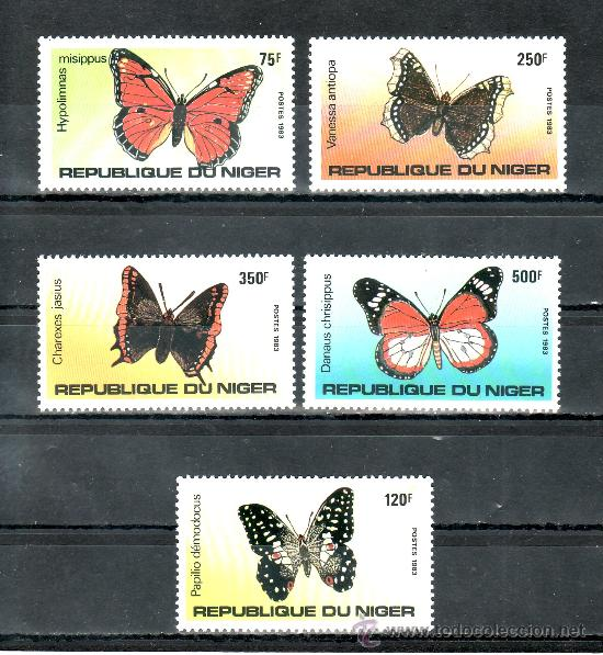 NIGER 625/9 SIN CHARNELA, FAUNA, MARIPOSAS, (Sellos - Extranjero - África - Niger)