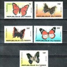 Sellos: NIGER 625/9 SIN CHARNELA, FAUNA, MARIPOSAS,. Lote 24574669