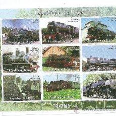 Sellos: TRAINS (TRENES) HOJA BLOQUE GRANDE, REPUBLIQUE DU NIGER, NUEVOS. Lote 39016407