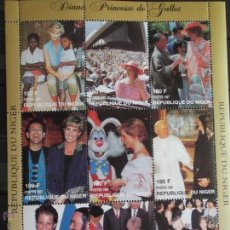 Selos: NÍGER. 972/80 HOMENAJE PRINCESA DE GALES CON PERSONALIDADES: PAPA JUAN PABLO II, PAVAROTTI, ELTHON J. Lote 42367903