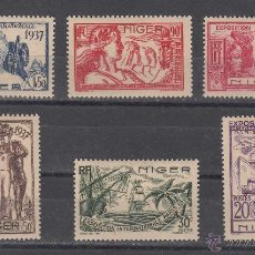 Sellos: NIGER 57/62 CON CHARNELA, EXPOSICION INTERNACIONAL DE PARIS,. Lote 42433117