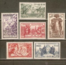 Sellos: NIGER COLONIA FRANCESA EXP. INTERNACIONAL DE PARIS 1937 YVERT NUM. 57/62 * SERIE COMPLETA CON FIJASE. Lote 43330292