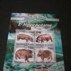 Sellos: SELLOS. HOJA BLOQUE NIGER. HIPOPOTAMO.. Lote 92924728
