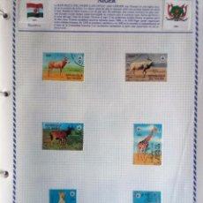 Sellos: NÍGER, HOJA DE ÁLBUM CON 6 SELLOS ANIMALES SALVAJES, USADOS, CON CHARNELAS . Lote 99390891