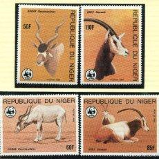 Sellos: NIGER 1985 MI 799 A 802 4 SELLOS MNH + 4 FDC + 4 TARJETAS MAXIMAS WWF. Lote 106912339