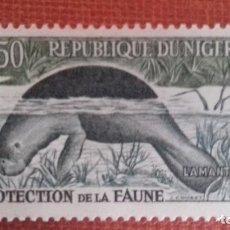 Sellos: NIGER 1959. FAUNA. TRICHECHUS SENEGALENSIS. YVERT 96A. NUEVO SIN CHARNELA.. Lote 132083102