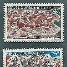 Sellos: NIGER 1972 - CARRERAS DE CAMELLOS Y DE CABALLOS - YVERT Nº 263/264**. Lote 137445014