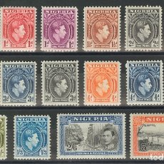 Sellos: NIGERIA. MH *YV 52/62, 71/74. 1938. SERIE COMPLETA, DIECISEIS VALORES. MAGNIFICA. (SG49/59C 55£) YV. Lote 183132617
