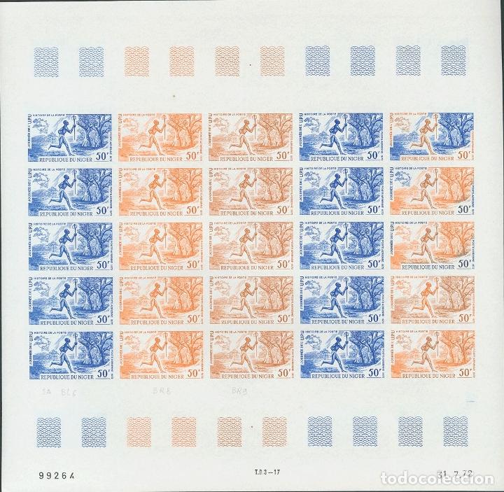 NÍGER, AÉREO. MNH **YV 194(25). 1972. 50 F MULTICOLOR, HOJA COMPLETA DE VEINTICINCO SELLOS. ENSAYOS (Sellos - Extranjero - África - Niger)