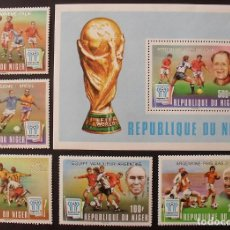 Sellos: NIGER 1978 SPORT WORLD CUP FOOTBALL SET+PERF. SHEET OVERPRINT MNH DA.089. Lote 198274858