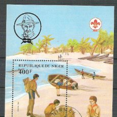 Sellos: NIGER 1982 SCOUT, PERF. SHEET, USED P.001. Lote 198274903